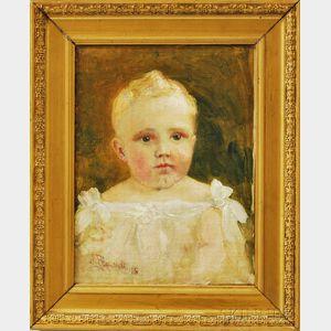 American School, 19th/20th Century      Portrait Head of a Child in White