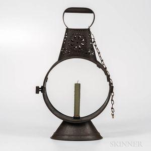 Pierced Tin and Glass Hand Lantern