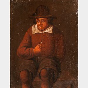 Manner of David Teniers the Younger (Flemish, 1610–1690)      Seated Man in Brown, Reaching inside His Vest