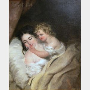 Manner of  Thomas Sully  (American, 1783-1872)      Sleeping Mother Awakened by a Child