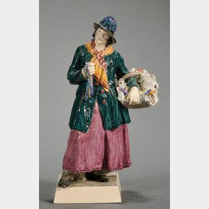 Charles Vyse Earthenware Figure of a Woman Peddler