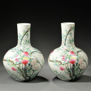 Pair of Large Famille Rose Vases, Tianqiuping