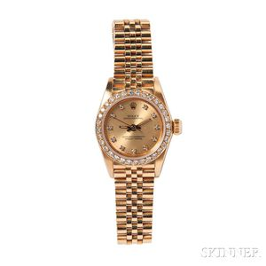 """Lady's 18kt Gold and Diamond """"Oyster Perpetual"""" Wristwatch, Rolex"""