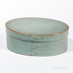 Light Blue/Green-painted Oval Shaker Pantry Box