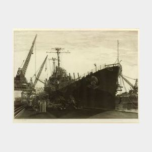 John Taylor Arms (American, 1887-1953) Lot of Two Naval Prints: Destroyers in Wetbasin at Federal Shipbuilding and Drydock Company, Sou