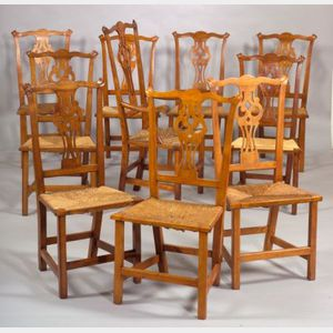 Assembled Set of Ten Chippendale Maple Carved Dining Chairs