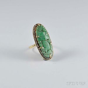14kt Gold, Carved Jadeite, and Seed Pearl Ring
