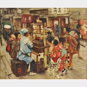 American School, 20th Century      Chinese Street Vendor Crafting Figures from Blown Sugar