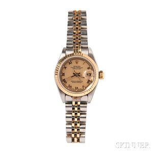 """Lady's Stainless Steel and Gold """"Oyster Perpetual Datejust"""" Wristwatch, Rolex"""