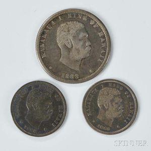 1883 Hawaiian Quarter and Two Dimes