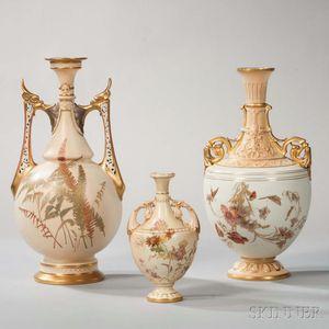 Three Royal Worcester Porcelain Vases