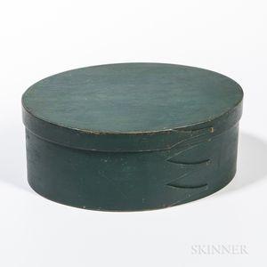 Dark Green-painted Oval Shaker Pantry Box