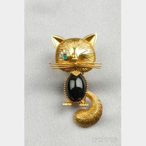 18kt Gold Gem-set Cat Brooch, Van Cleef & Arpels