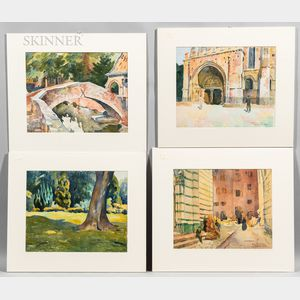 John Lavalle (American, 1896-1971)      Four Watercolor Scenes of Europe:   Bruges, 1926 ;  Chalfont, St. Peter, 1925 ;  Moissac, 1926