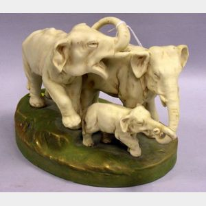 Royal Dux Ceramic Elephants Figural Group.