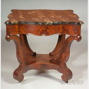 American Classical Mahogany Marble-top Center Table