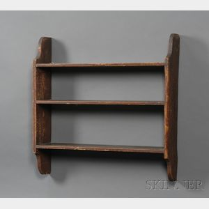 Red Painted Pine Three-tier Wall Shelf