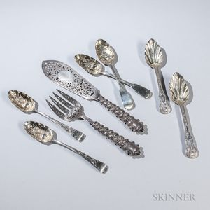 Eight Pieces of English Sterling Silver Flatware