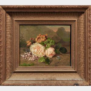 Continental School, 19th Century    Floral Bouquet En Plein Air