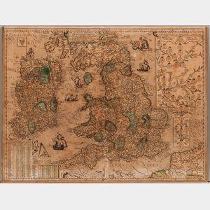 Britain and Ireland, Jan Baptist Vrients (1552-1612) [and Abraham Ortelius (1528-1598)] Angliae et Hiberniae Accurata Descriptio, Veter