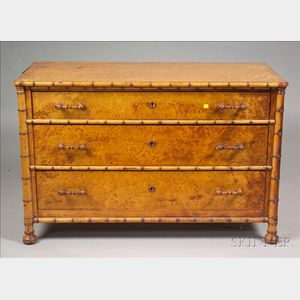 Victorian Faux Bamboo and Bird's Eye Maple Dressing Chest with Mirror