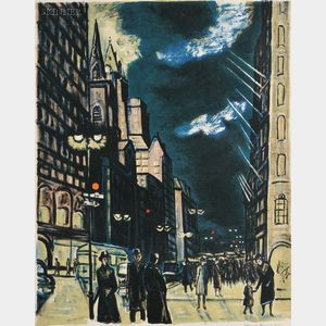 Ernest Fiene (American, 1894-1965)      Fifth Avenue Evening