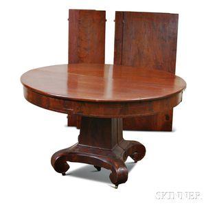 Late Classical Mahogany Veneer Pedestal Dining Table