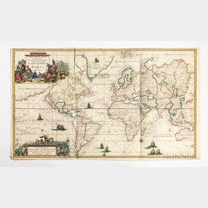 World. Gerard van Keulen (1678-1726) Nieuwe Wassende Graaden Paskaart Vertoonende alle de bekende Zeekusten en Landen op den geheelen A