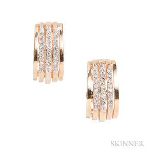 Pair of 14kt Gold and Diamond Half-hoop Earrings