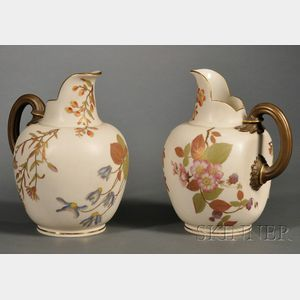 Pair of Royal Worcester Porcelain Pitchers
