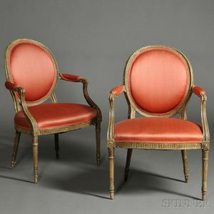 Pair of Neoclassical Upholstered Gray-painted Armchairs