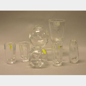 Seven Small Scandinavian Bird and Fowl Decorated Colorless Cut Crystal Vases.