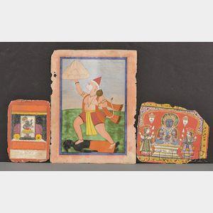 Lot of Three Miniature Paintings