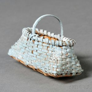 Miniature Light Blue-painted Woven Splint Basket