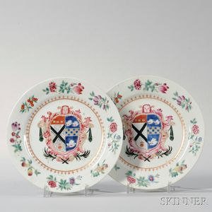 Pair of Small Armorial Export Porcelain Plates