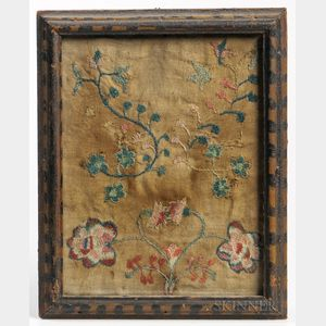 Framed Floral-decorated Embroidery