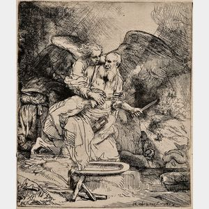 Sold for: $44,438 - Rembrandt van Rijn (Dutch, 1606-1669)      Abraham