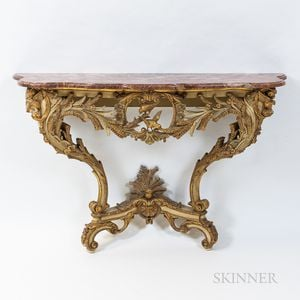 Rococo-style Marble-top Green-painted and Gilt Console Table