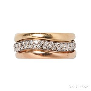 Three 18kt Tricolor Gold Stacking Rings, Cartier