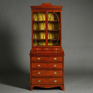 Regency-style Diminutive Inlaid Mahogany Veneer Bureau Bookcase