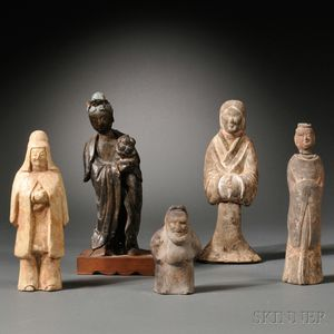Five Unglazed Earthenware Figurines