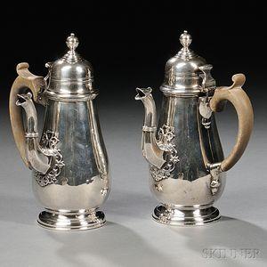 Two George V Sterling Silver Cafe-au-lait Pots
