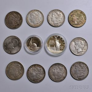 Group of Silver Dollars and Half Dollars