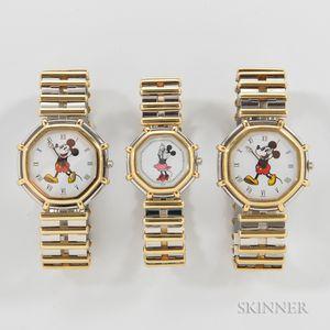 "Three Gerald Genta Walt Disney ""Les Fantaisies"" Watches"