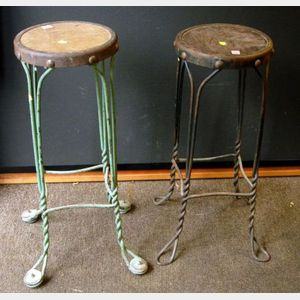 Pair of Painted Iron Ice Cream Parlor Stools.