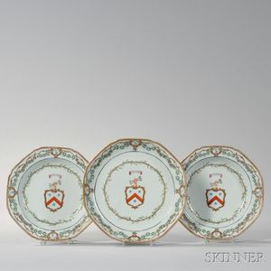 Three Pieces of Armorial Export Porcelain