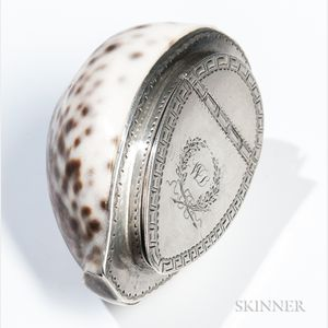 Silver-mounted Cowrie Shell Snuffbox
