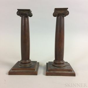 Pair of Gorham Bronze Ionic Columnar Candlesticks