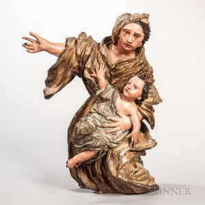 Polychrome Carved Wood Madonna and Child