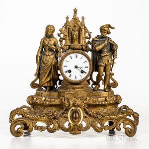 Figural Gilt Mantel Clock